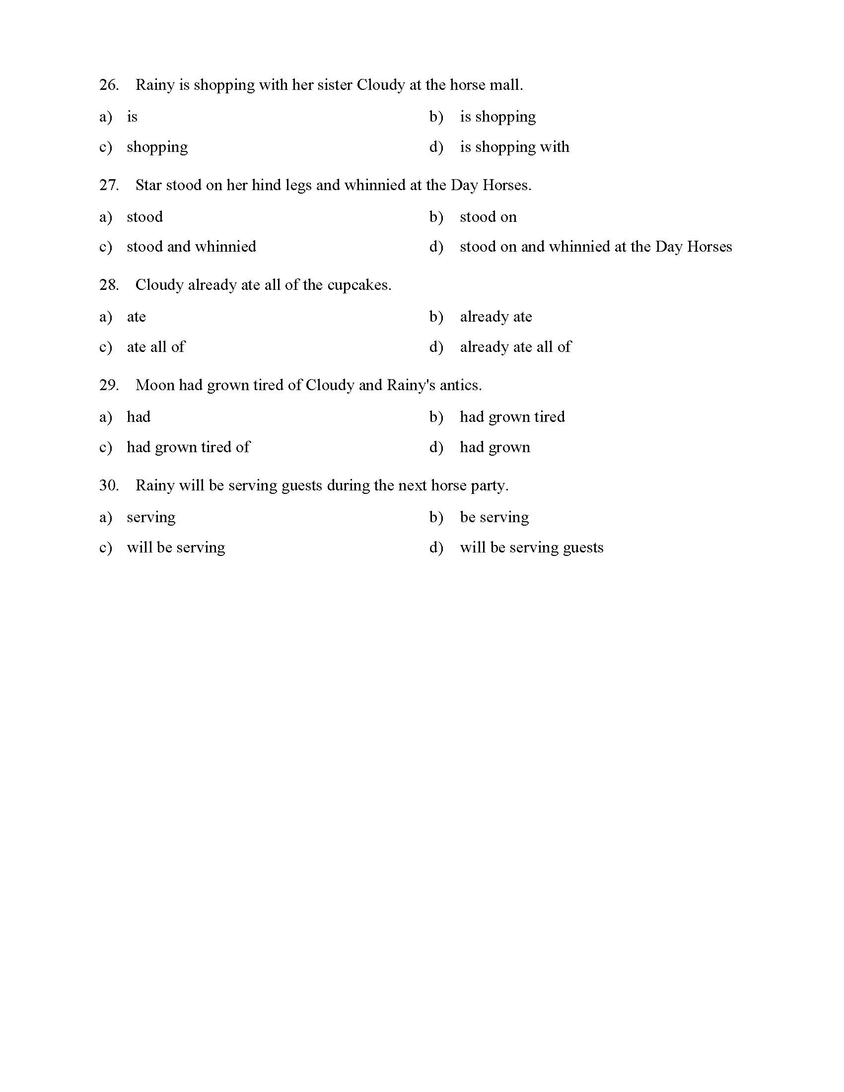 Verb Phrases Test With Horses Reading Level 1 Preview