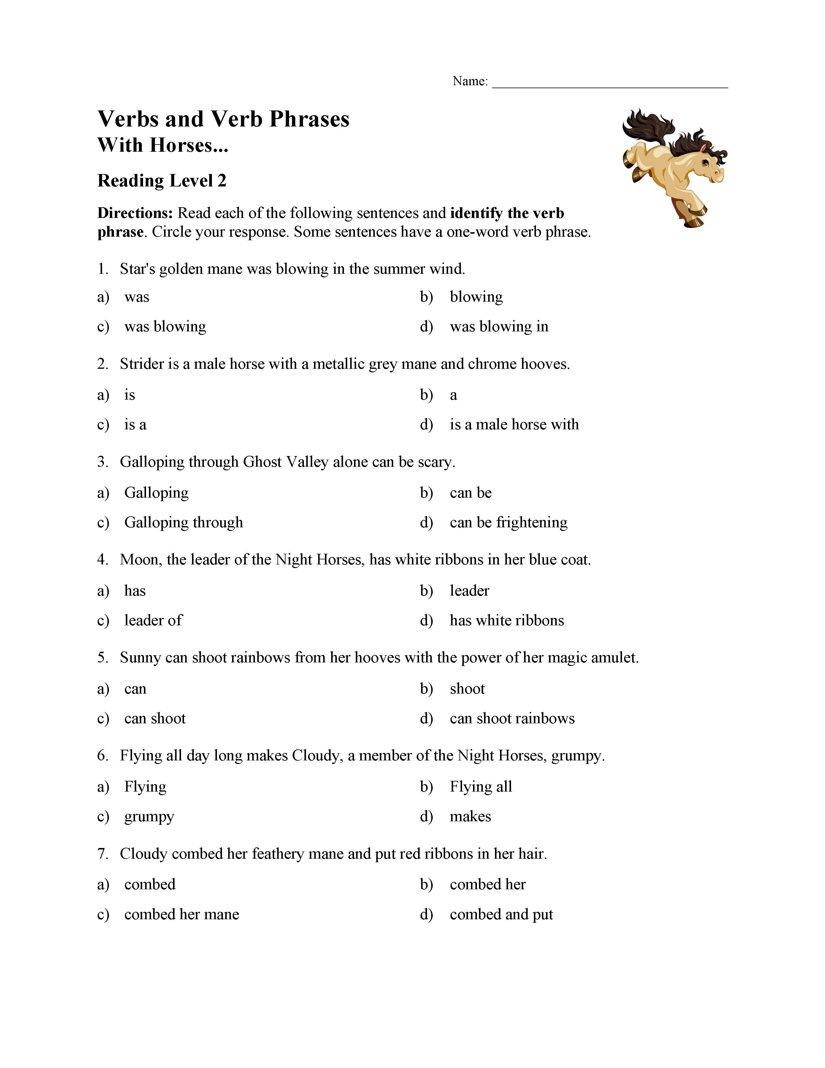 Verb Phrases Test With Horses Reading Level 2 Preview
