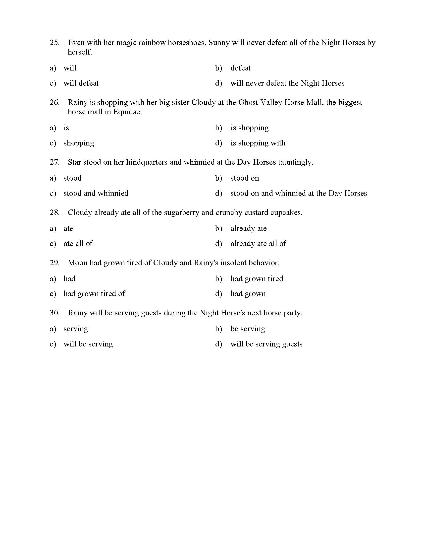 Verb Phrases Test With Horses Reading Level 3 Preview