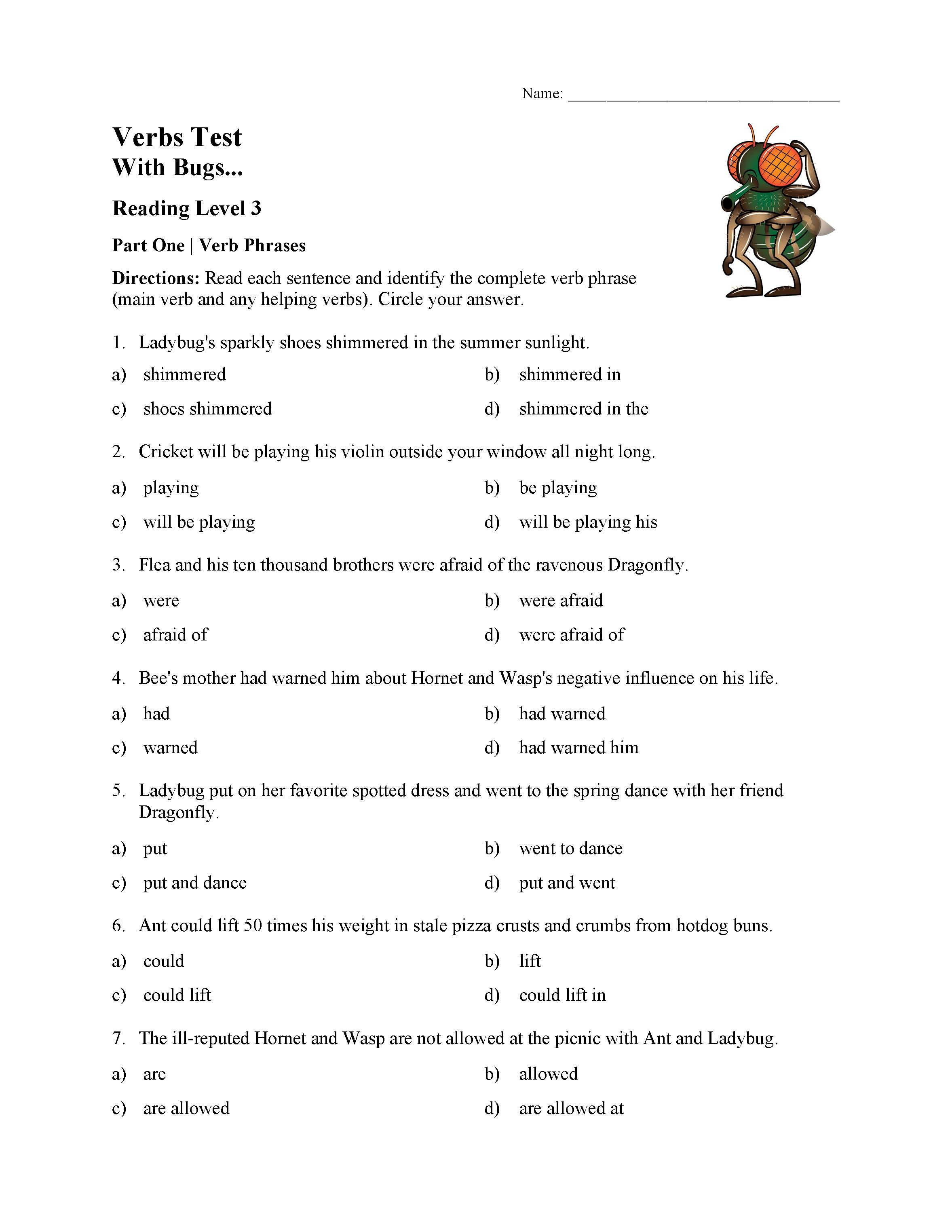 This is a preview image of the Verbs Test - With Bugs | Reading Level 3.