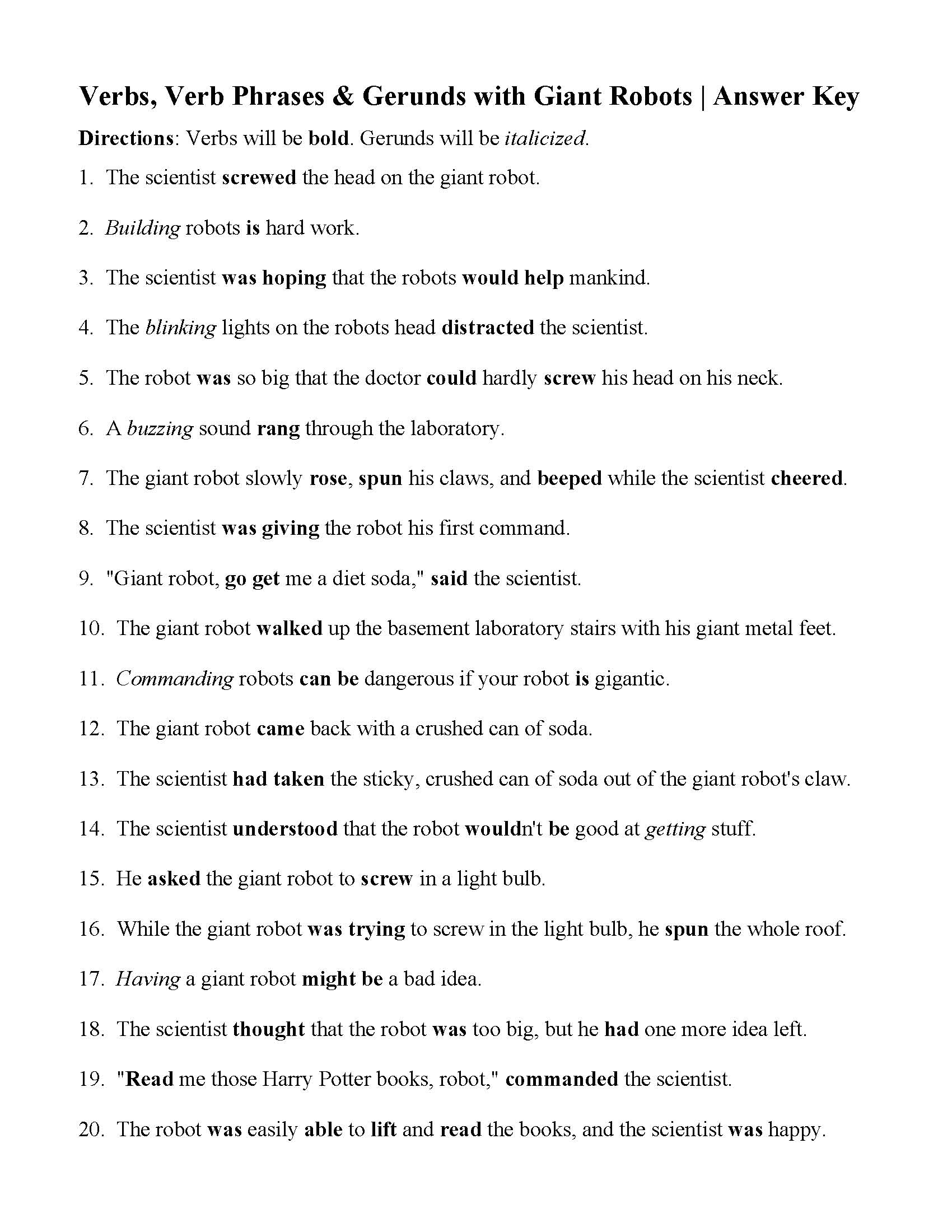 Verbs Verbs Of Being And Gerunds Worksheet Answers