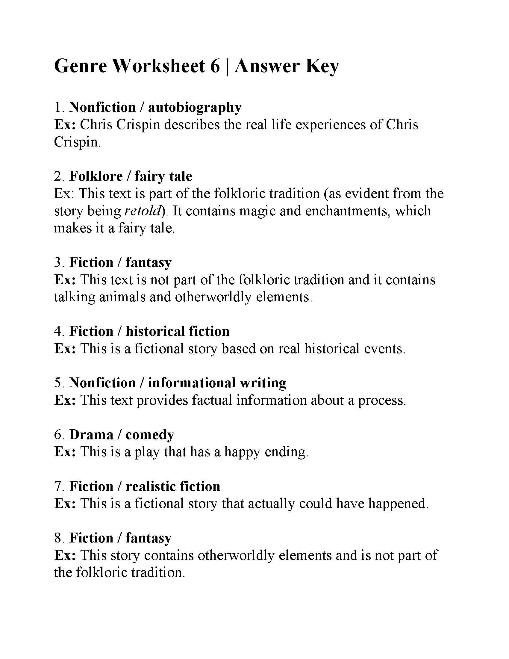 Genre Worksheet 6 | Answers