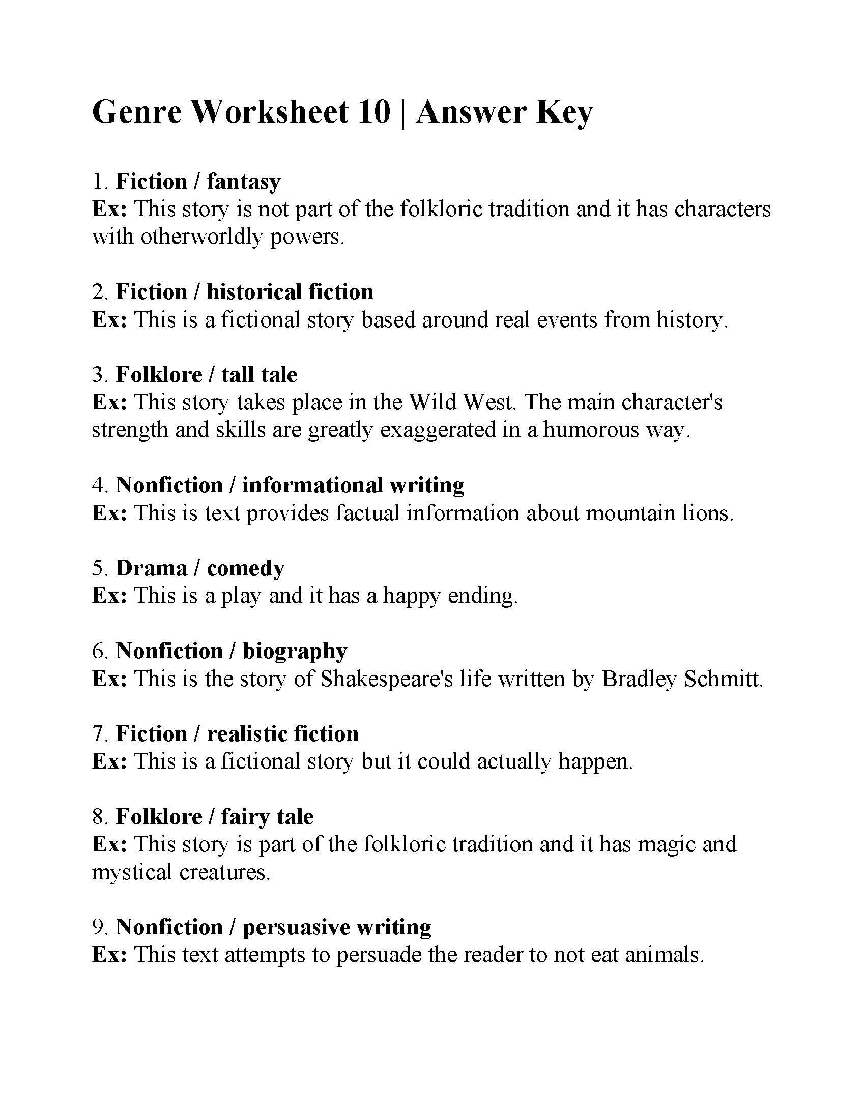 Genre Worksheet 10 Answers .rhymes other reading worksheets poems poetry present perfect readings proofreading puns reading comprehension riddles spelling summarizing tales and stories the news the plot tongue twisters translation. genre worksheet 10 answers