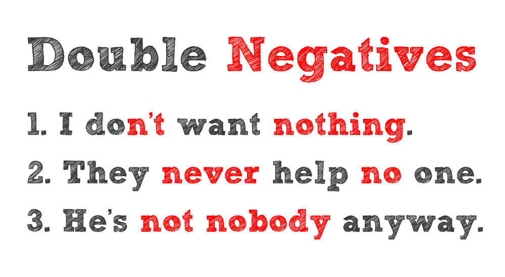 This is a picture with the heading Double Negatives. Beneath that it has three examples of sentences containing double negatives. The negative words are red.