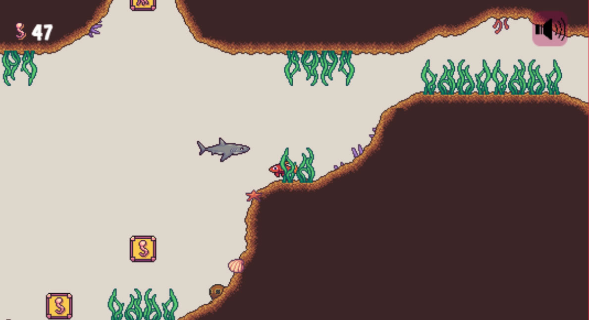 This is a screenshot of Genre Piranha: Literary Genre Review Game. The player is hiding in the weeds as a shark approaches.