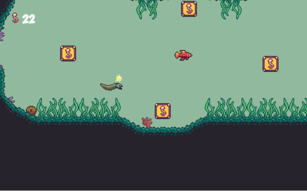 This is a screenshot of Genre Piranha: Literary Genre Review Game. An eel is shooting electricity at the player.