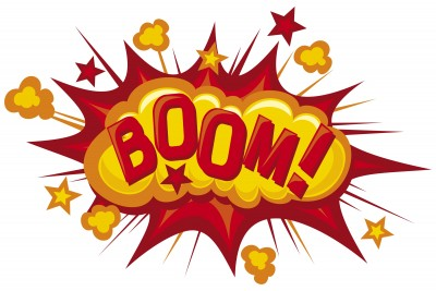 This is an image of the onomatopoeic word Boom.  It is surrounded by dust clouds and a cartoon explosion