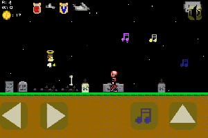 This is a screenshot of Orpheus the Lyrical. He is in a graveyard with a zombie and a skeleton.