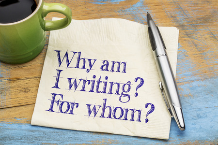 "This is a photo of a piece of paper with a pen next to it. The text on the paper says, ""Why am I writing? For whom?"""