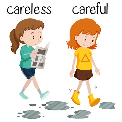"This is an illustration of two girls. One is about to walk into a puddle, above her head is the word ""careless."" Another is stepping over a puddle. Above her head is the word ""careful."""