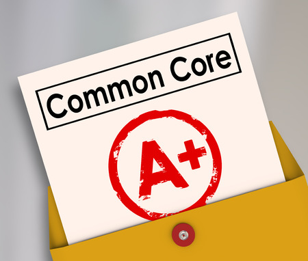"This is an CGI illustration of an open manilla envelope. A report card with the words ""Common Core"" at the top is rising from the envelope. The report card has a bright red A+ on it."