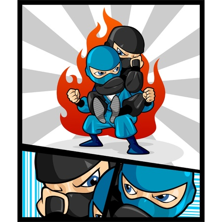 This is an image of two ninjas fighting. One ninja is dressed in a black suit and the other is dressed in a blue suit.