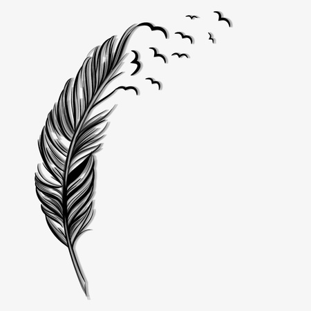 This is an illustration of a feather quill. The top of the quill is transforming into birds who are flying into the sky.