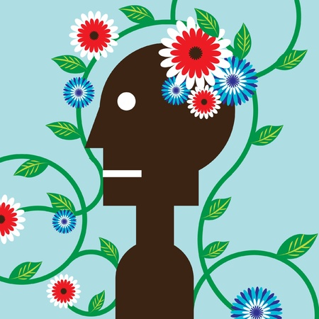 This is an illustration of a silhouetted man with colorful flowers blooming in his brain. It is intended to represent how figurative language brings beauty to our brains.