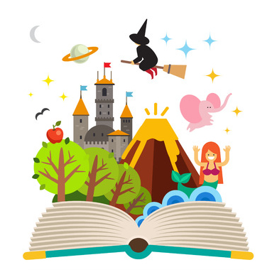 This is an illustration of an open book with classic character types from many different genres flying out of the book. There is a witch, a pink elephant, a mermaid, the planet saturn, a castle, a volcano, and an enchanted forest.