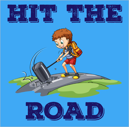 "This is a picture of a young boy hitting the road with a sledge hammer. The caption at the bottom of the picture reads ""Hit the road."""