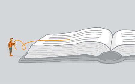 This is an illustration of a man pulling a line from a book. The line he is pulling is coming from between the other lines and is orange. The other lines are black. It is meant to signify that he is reading between the lines.