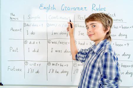 This is a photo of a young man standing in front of a white board. The white board contains a table showing how to conjugate verbs to show different tenses and aspects. The young man is holding a marker and appears confident.