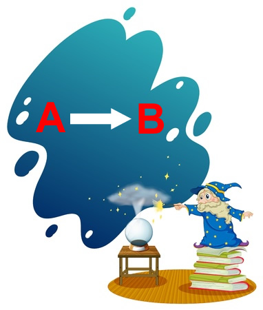 This is an illustration of a wizard standing on a pile of books. He is zapping a crystal ball with his wand and a smoky cloud is rising from it. In the cloud is the letter A with an arrow pointing to the letter B. It is meant to convey the idea of making predictions.