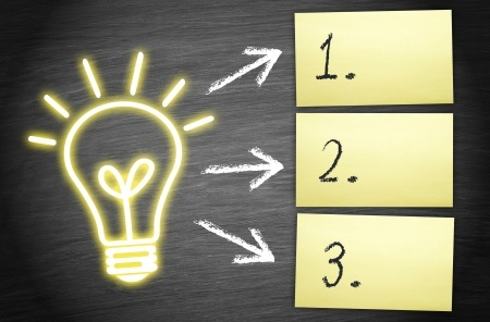 This is a graphic of an illuminated light bulb. There are three arrows pointing from the light bulb to three sticky notes.  The numbers 1, 2, and 3 are written on the notes respectively.