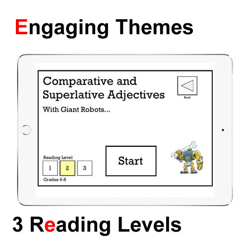 This is an image of an Activity Title page on my Parts of Speech App. It shows a giant robot and some buttons where a student could pick his or her reading level.
