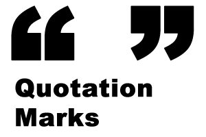 Image of Quotation Marks. Also says Quotation Marks underneath the symbols.