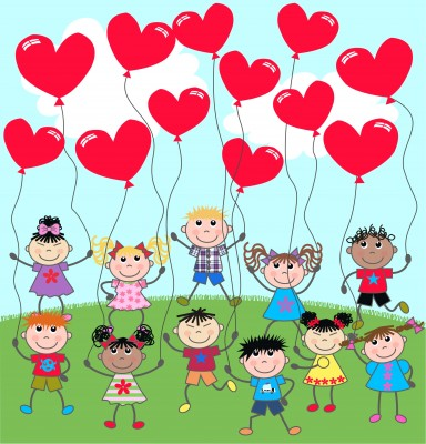 This is a picture of a bunch of kids with floating red heart  balloons.