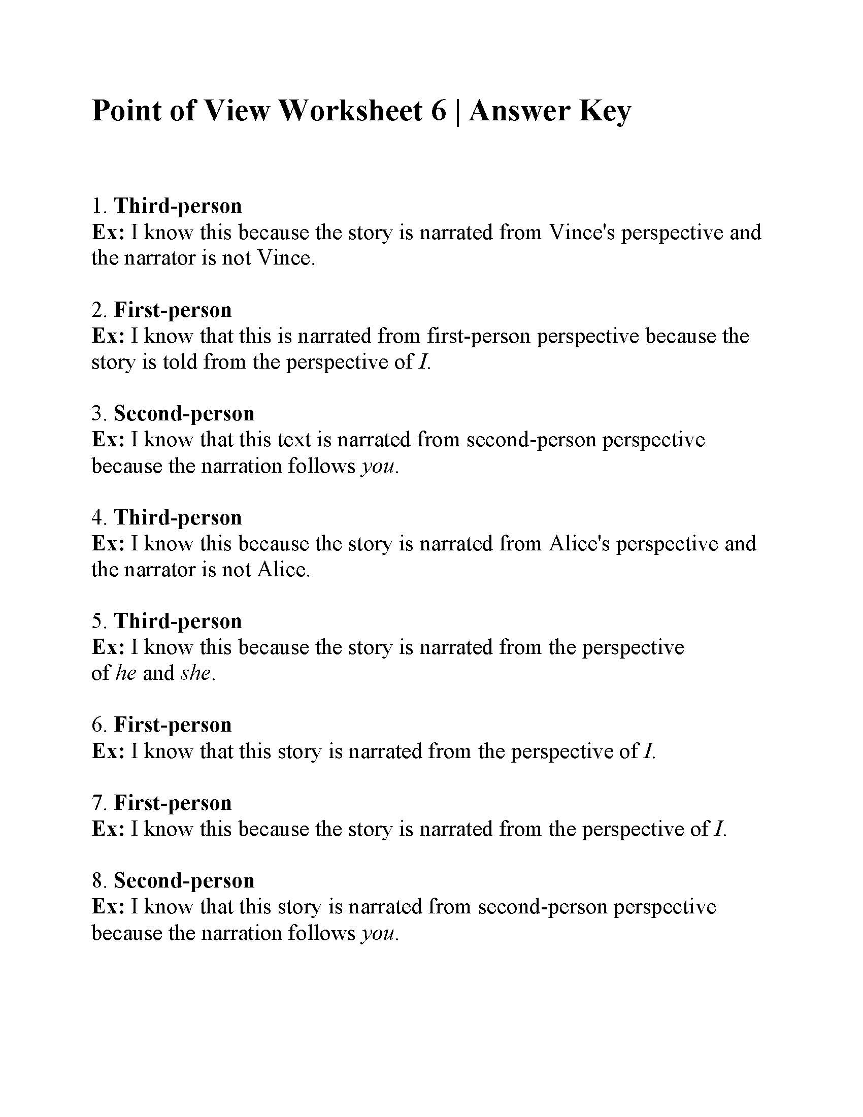 Point Of View Worksheet 6 Answers