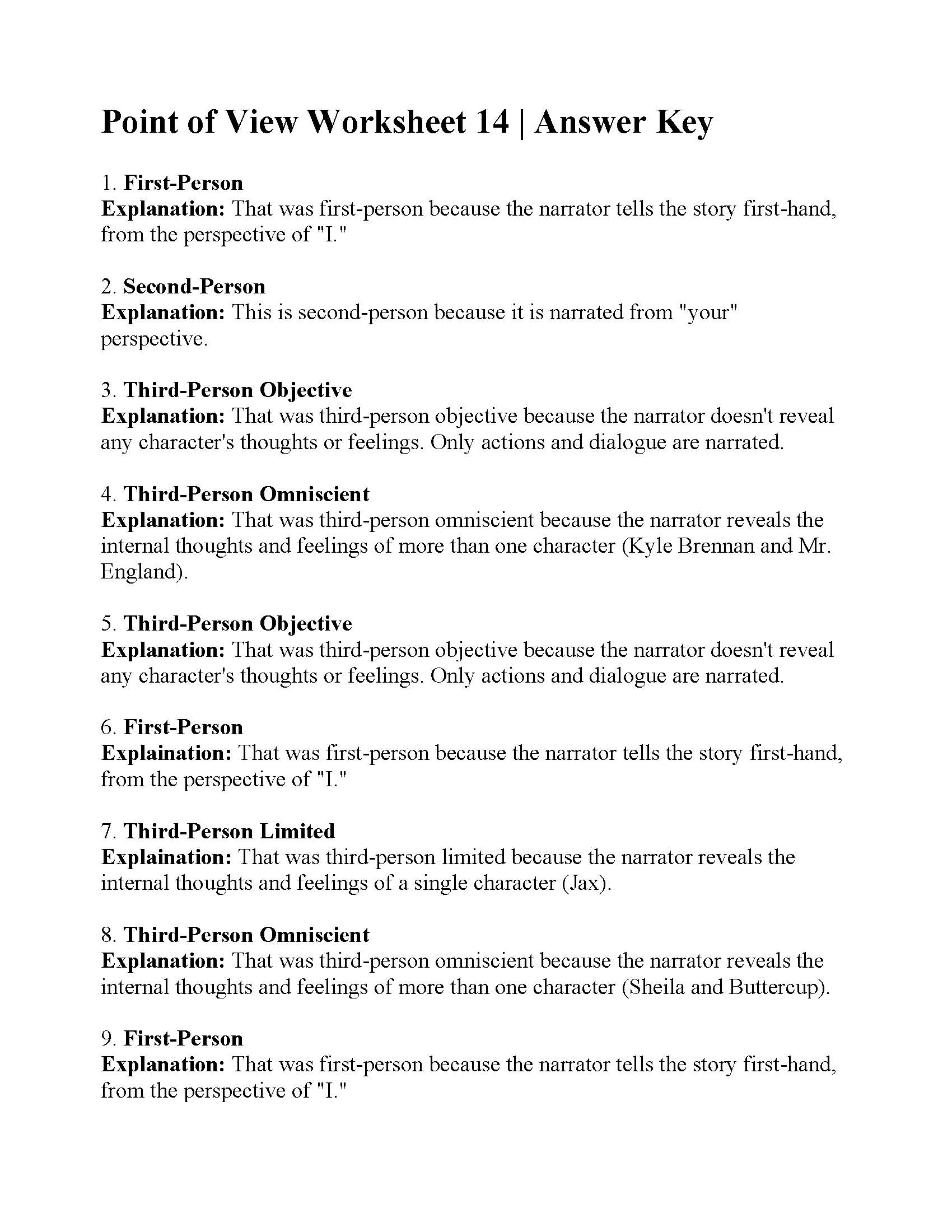Point of View Worksheet 14 | Answers