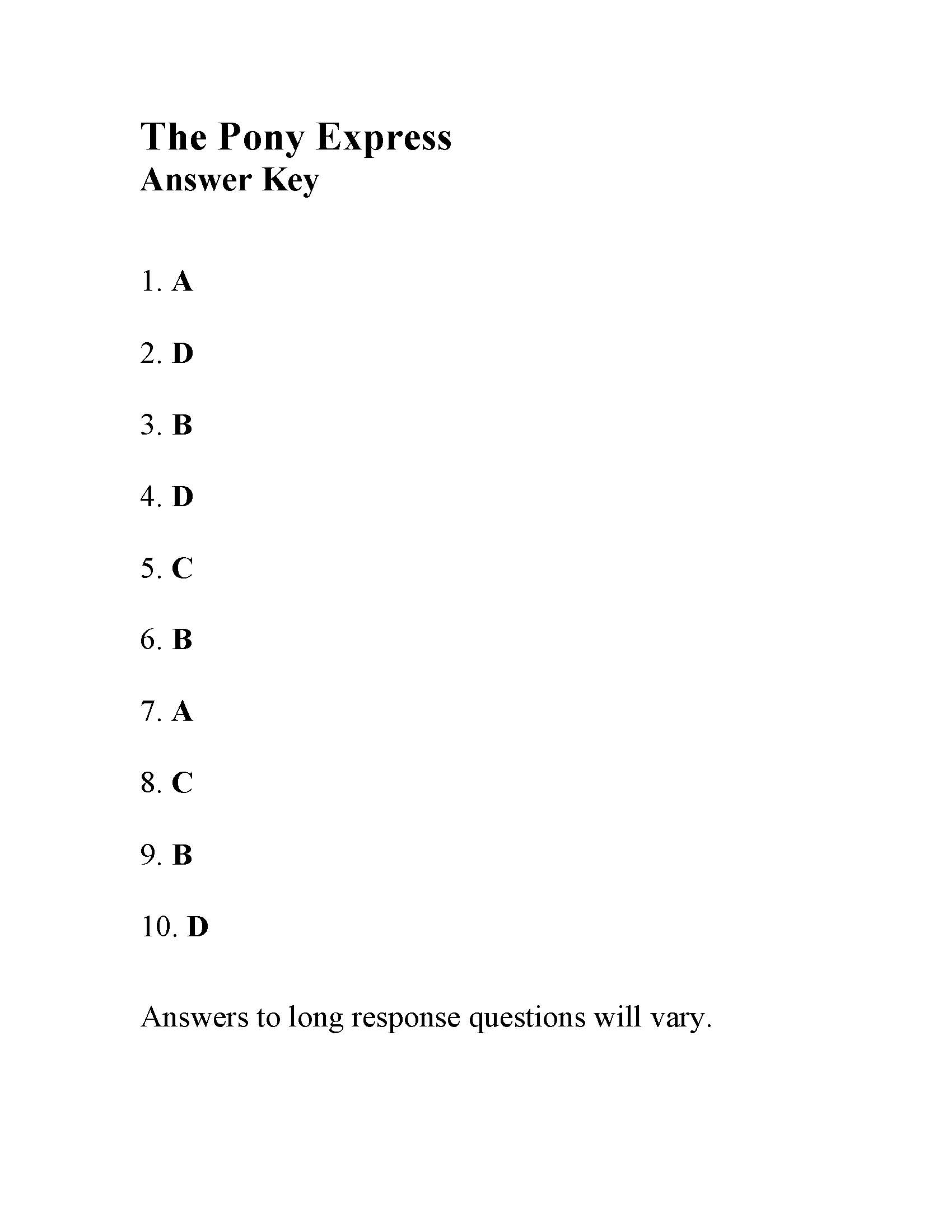 This is the answer key for the The Pony Express.