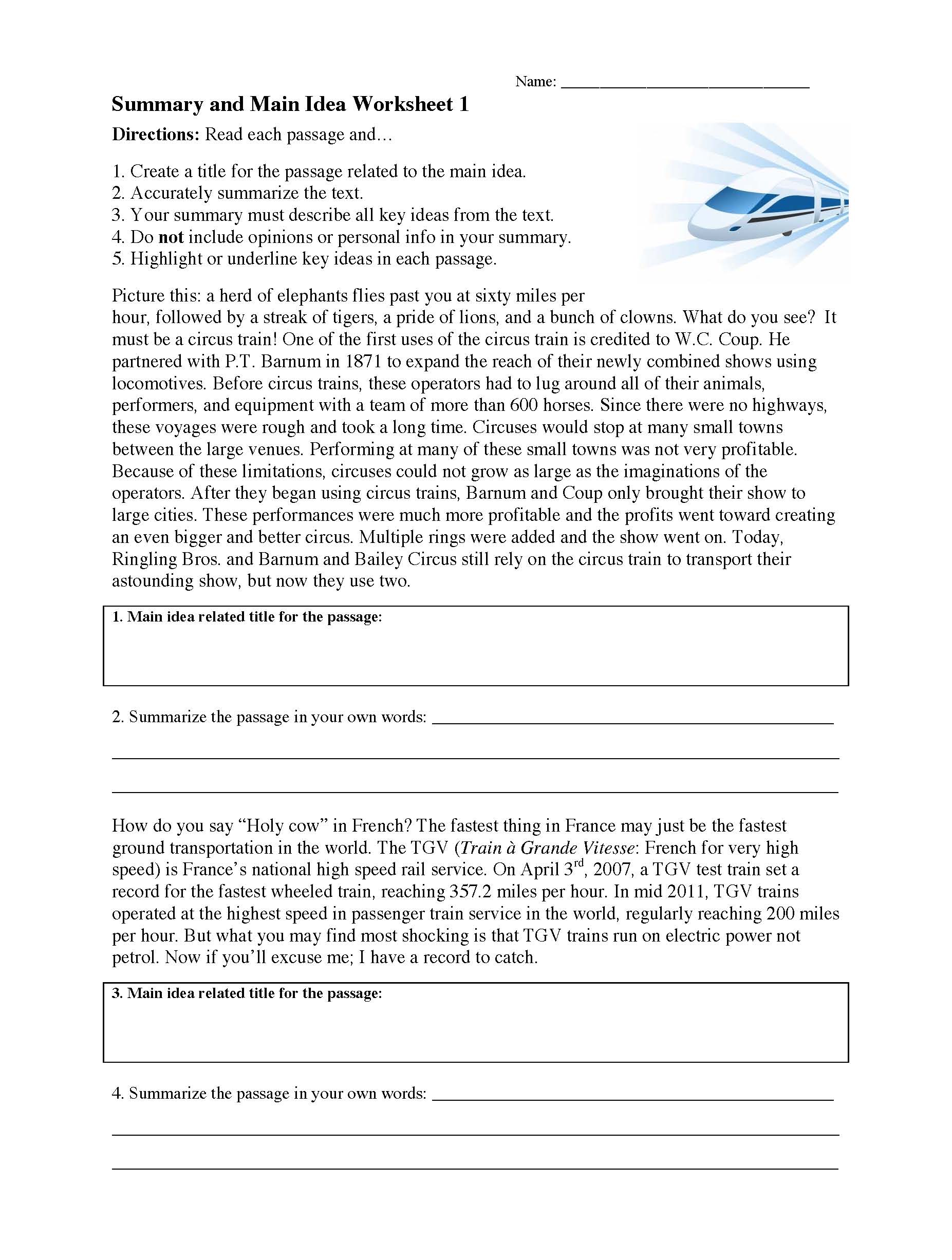 Worksheets Worksheets On Summarizing summary and main idea worksheet 1 preview this is a image of the 1