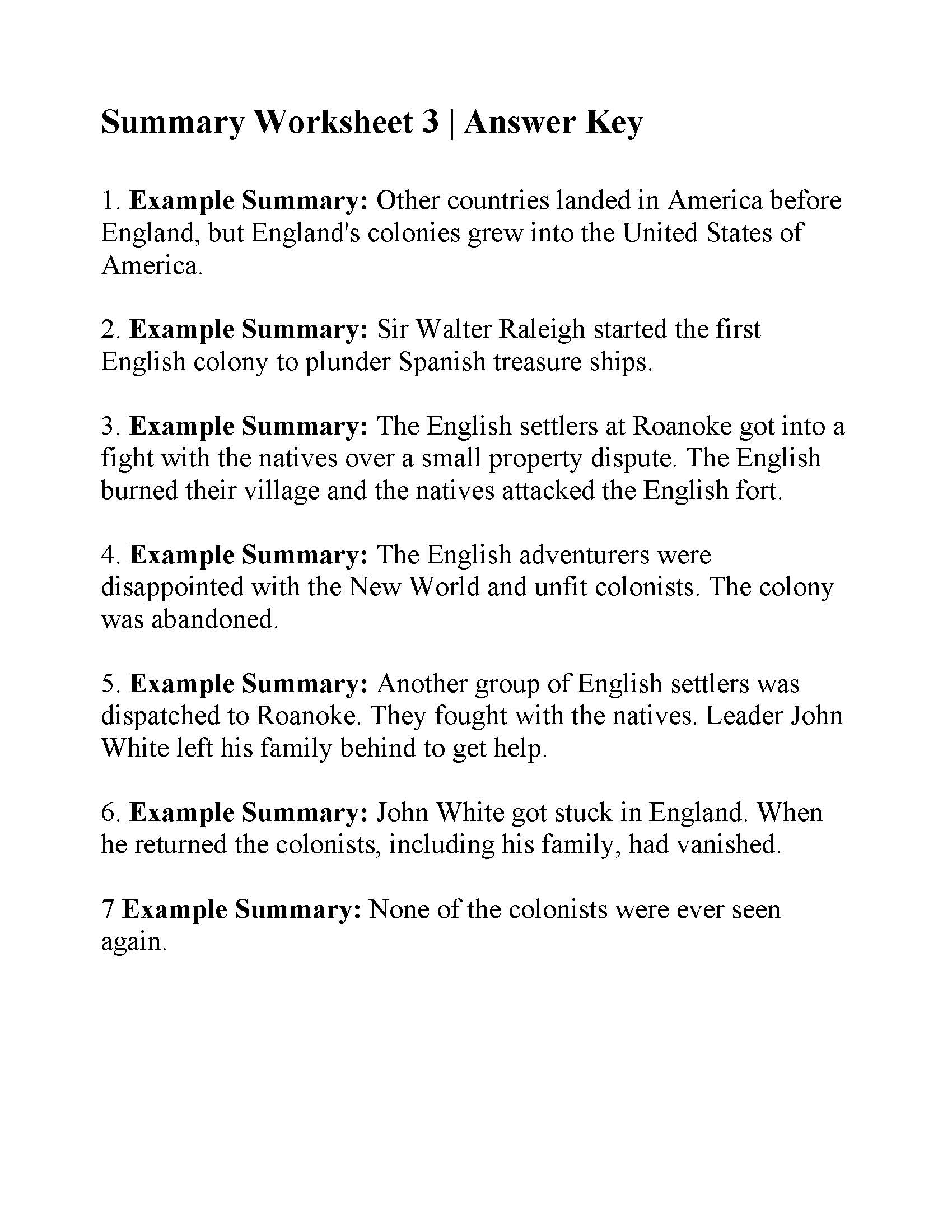 Summary Worksheet 3 | Answers
