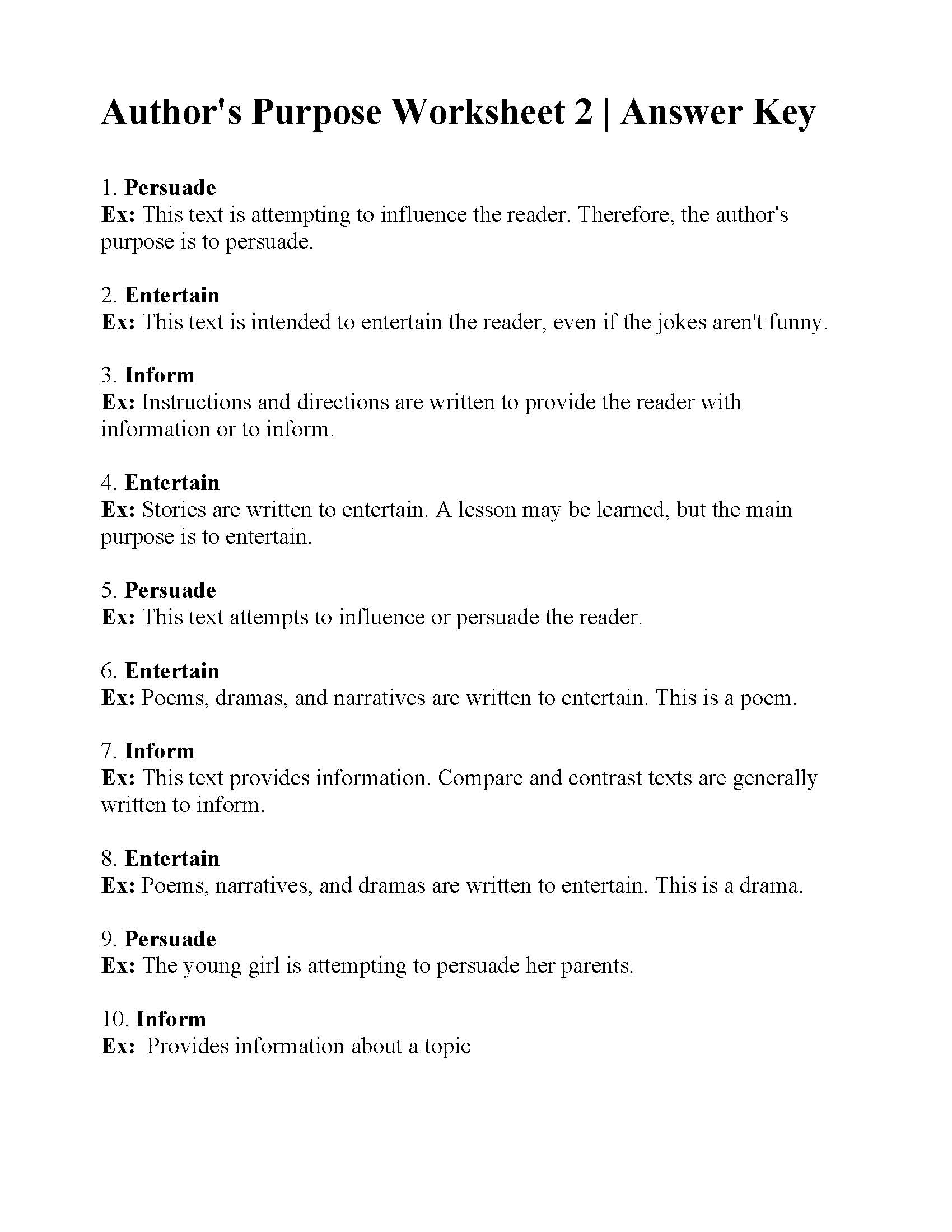 Author's Purpose Worksheet 2 | Answers