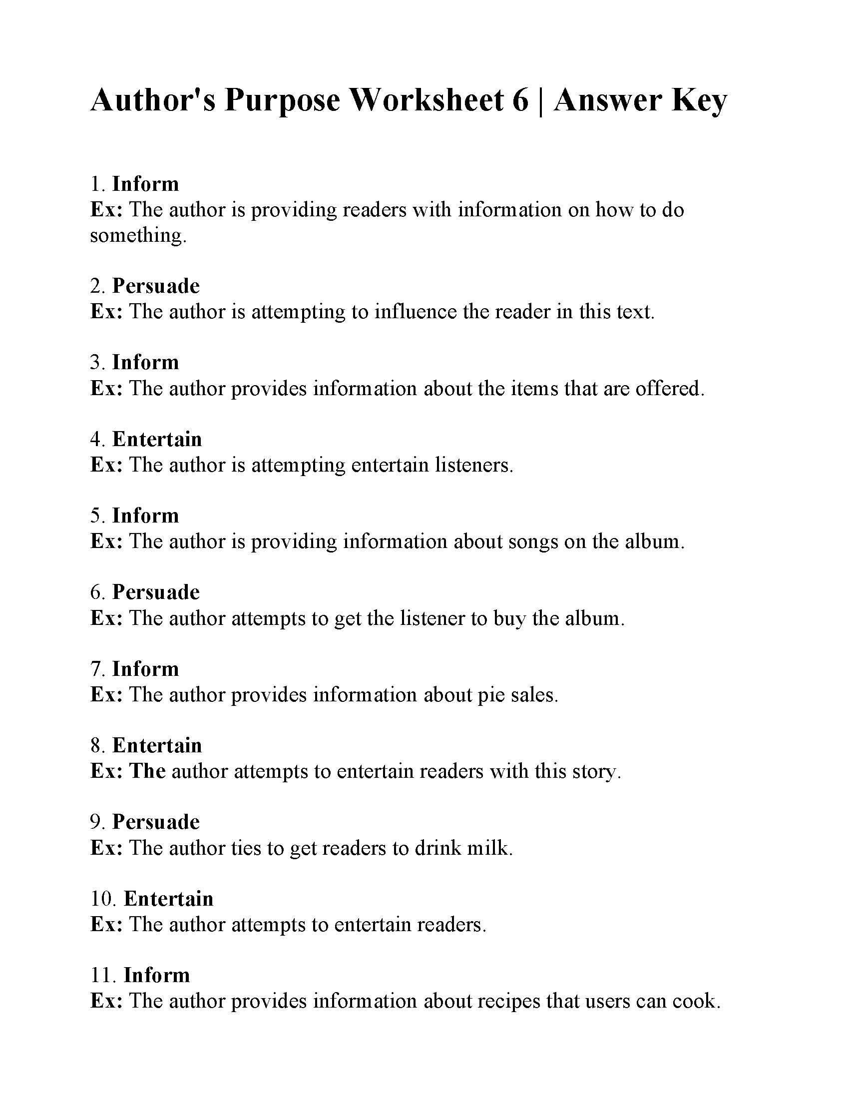 Author's Purpose Worksheet 6 | Answers