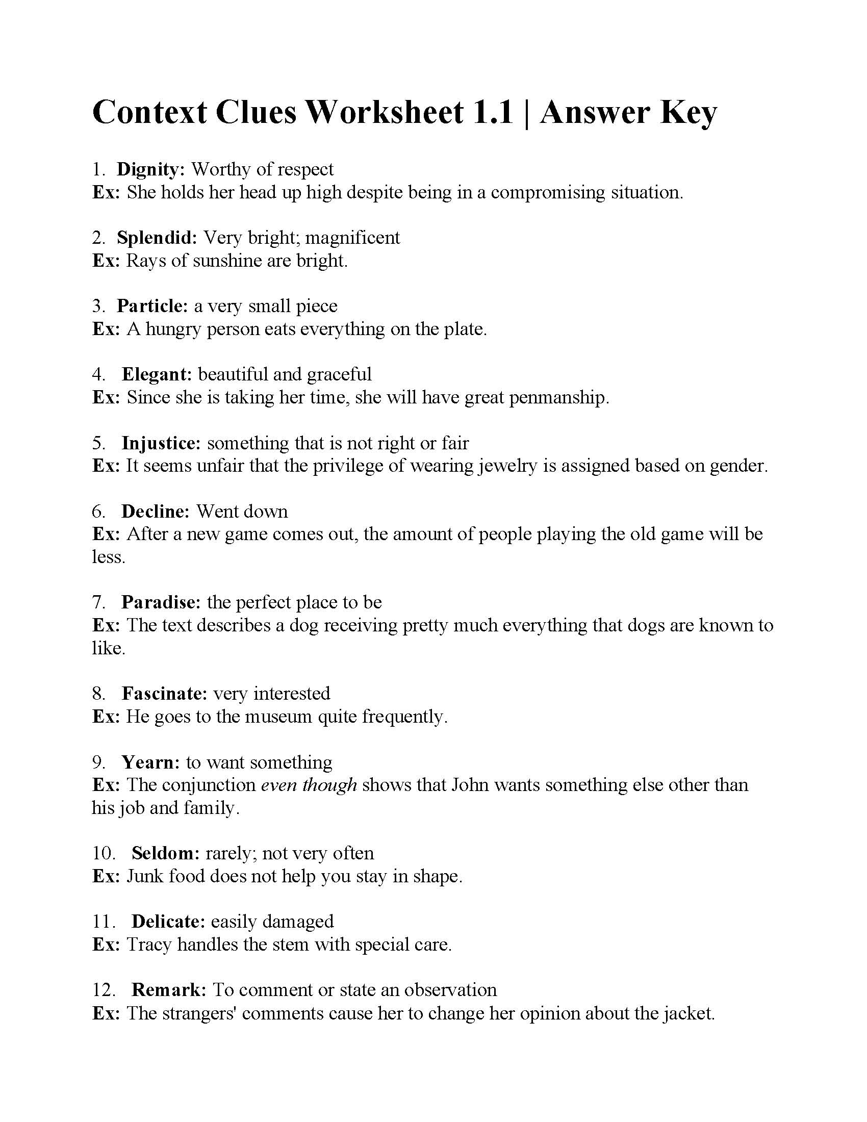 Context Clues Worksheet 1.1 | Answers