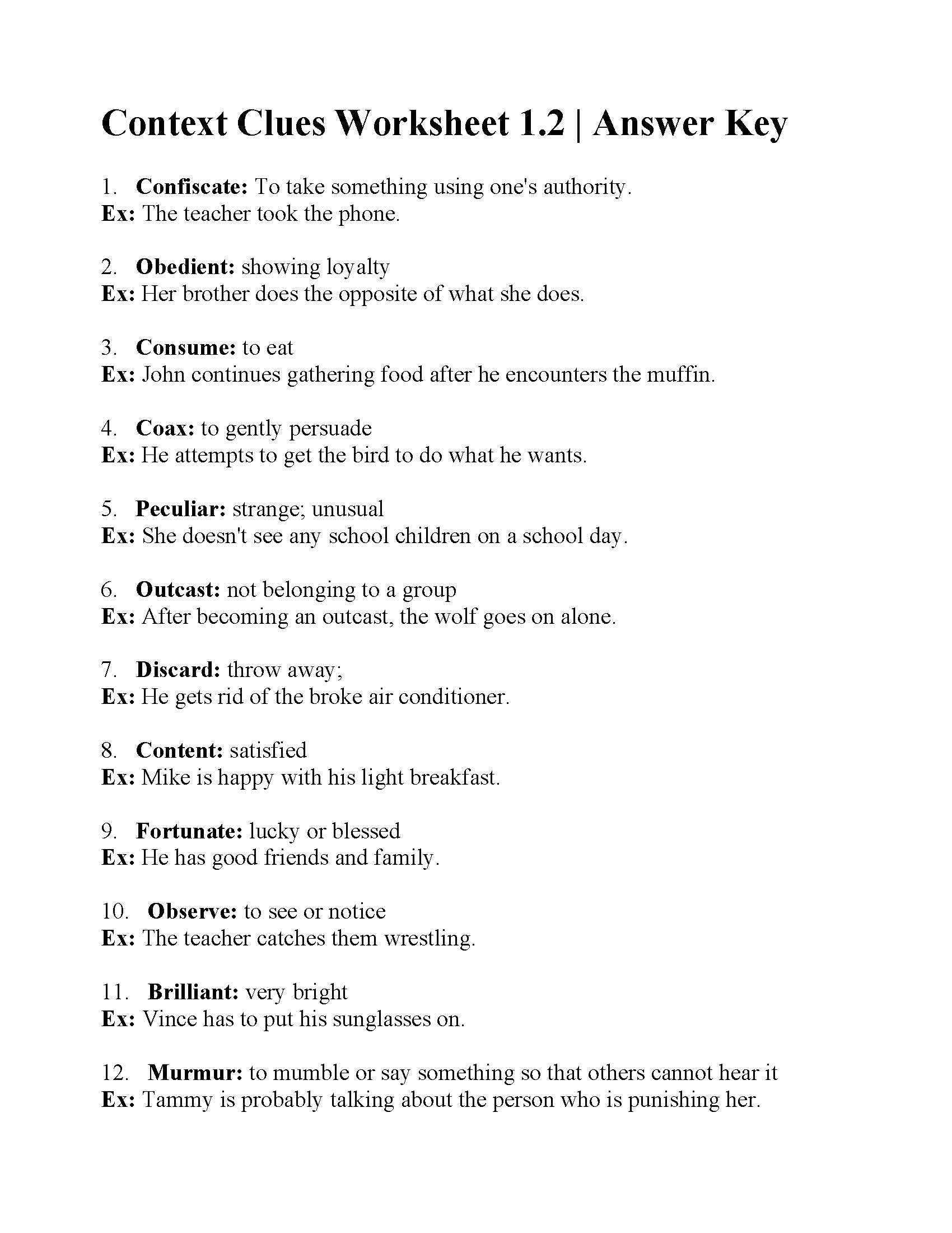 Context Clues Worksheet 1.2 | Answers