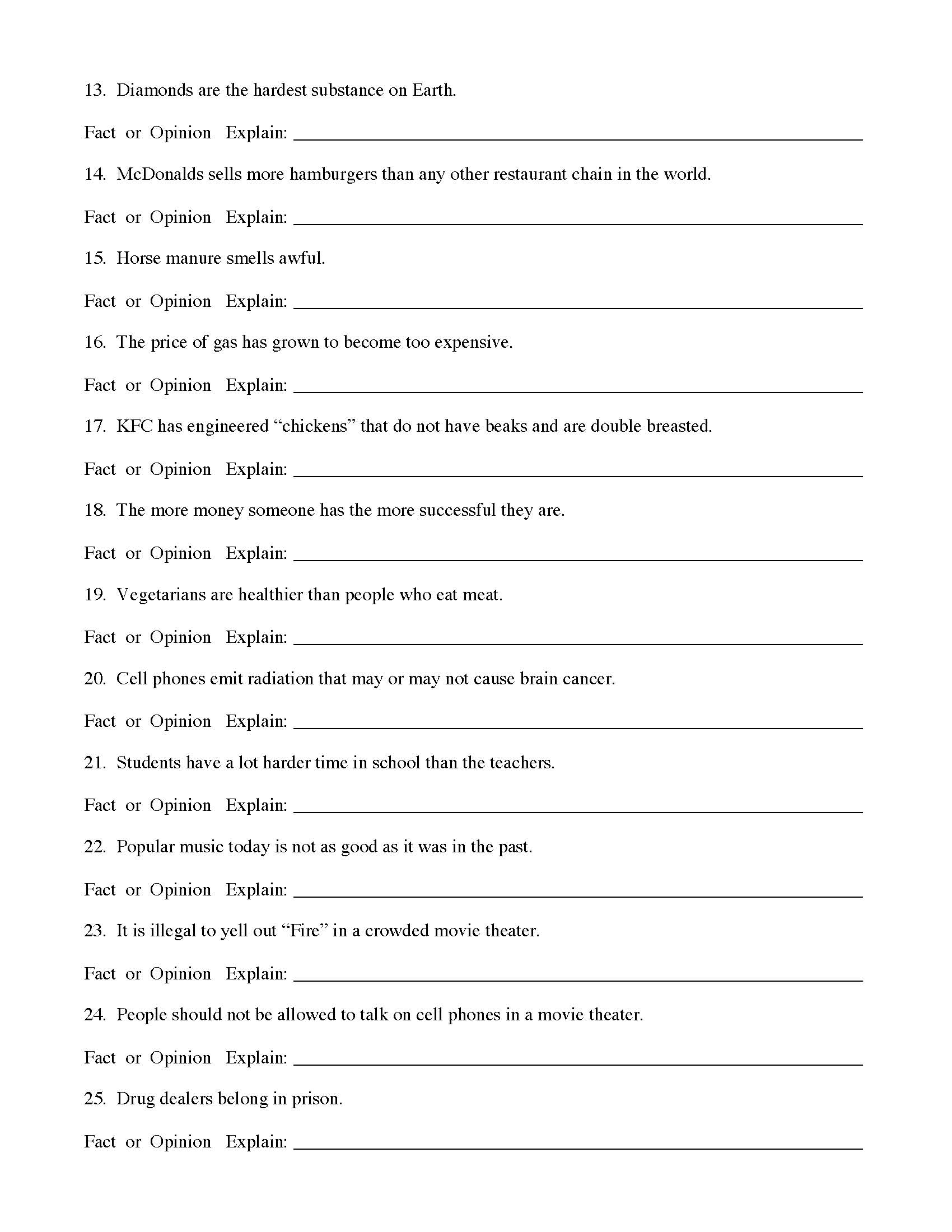 Fact And Opinion Worksheet 1 Preview