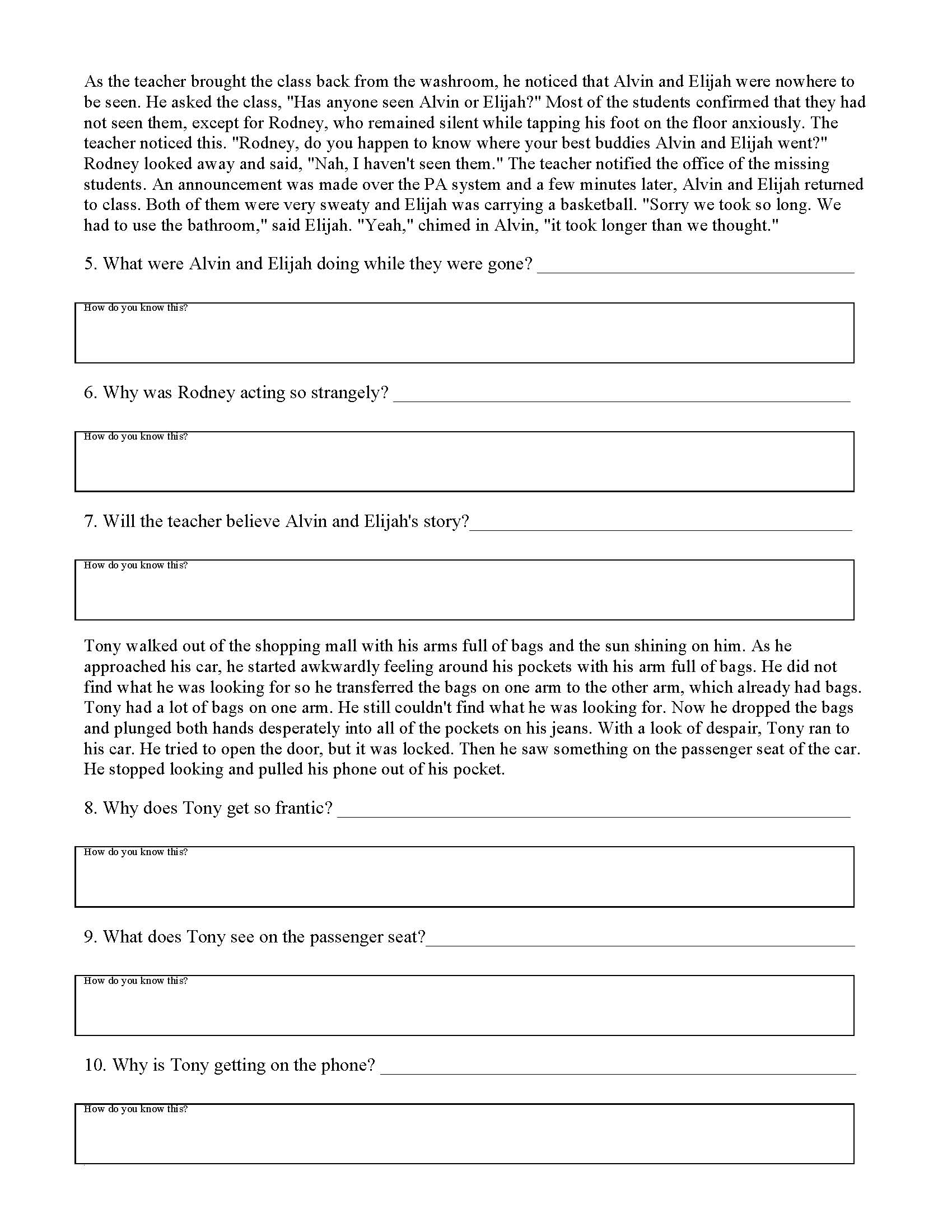 Inferences Worksheet 3 | Preview