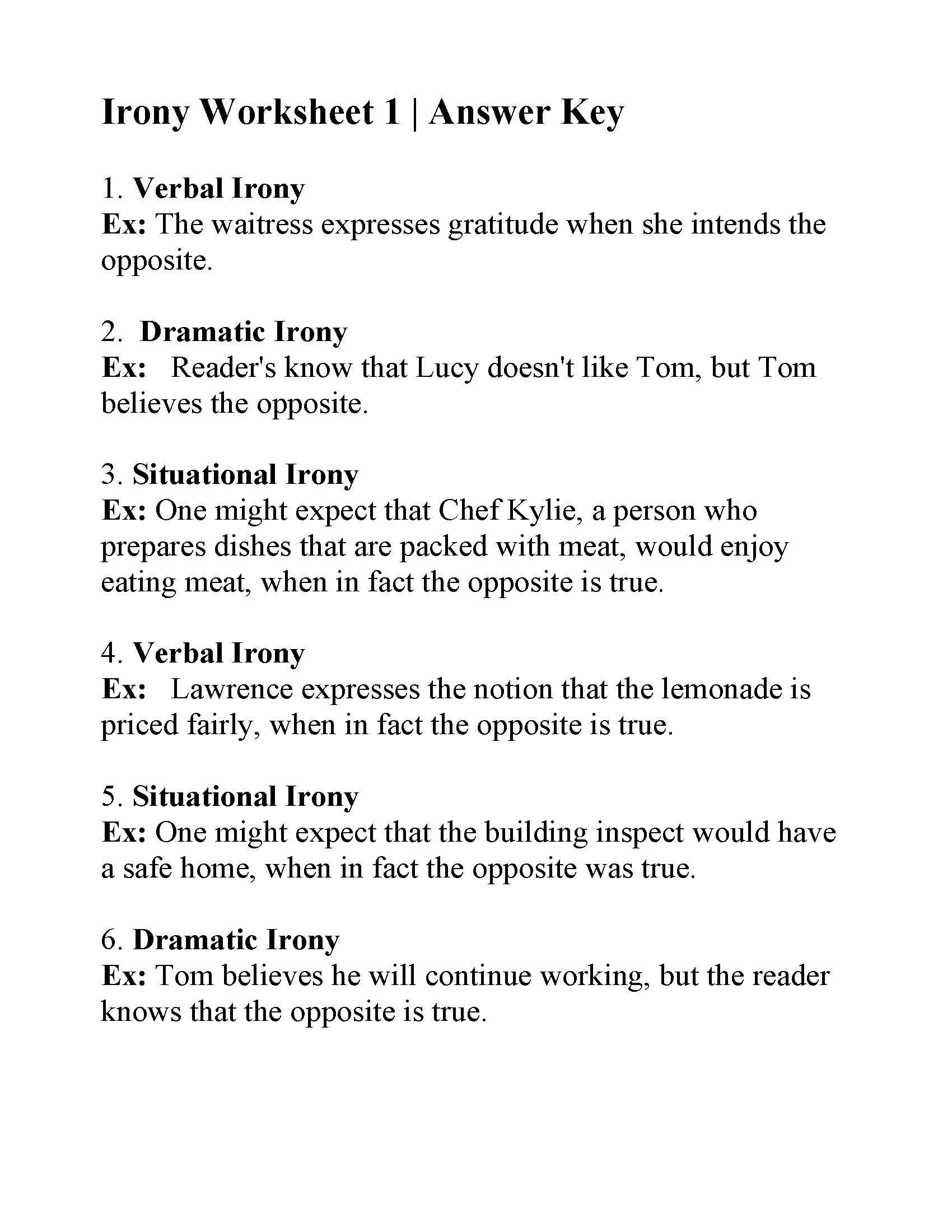 Irony Worksheet 1 Answers