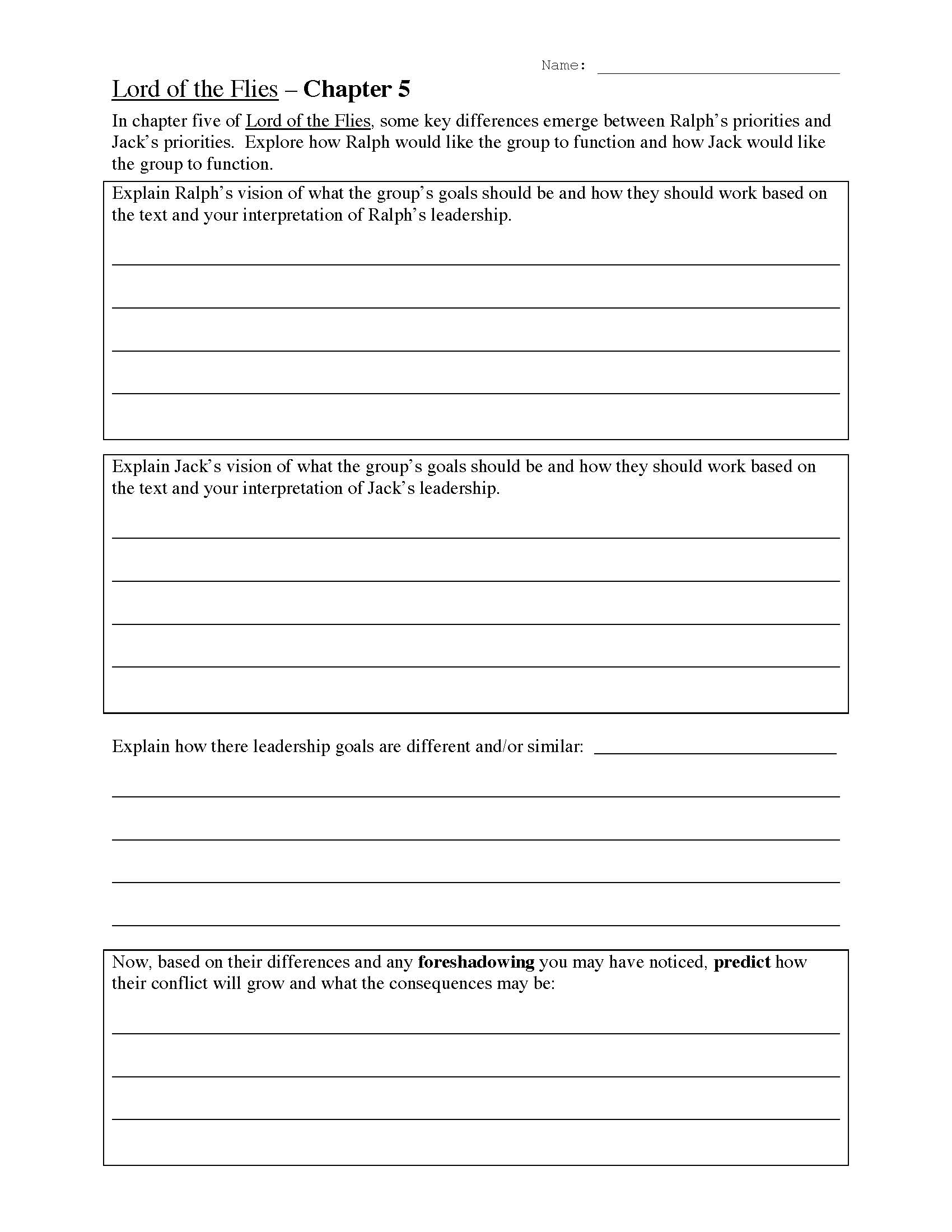 Worksheets Foreshadowing Worksheets lord of the flies chapter five worksheet preview this is a image worksheet