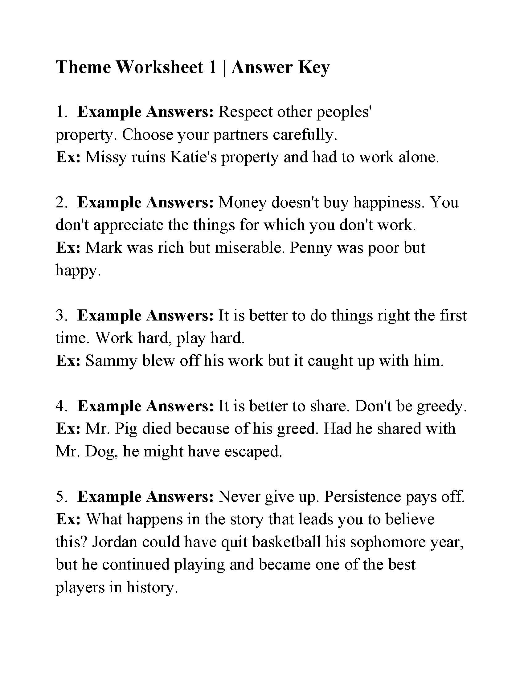 Theme Worksheet 1 | Answers