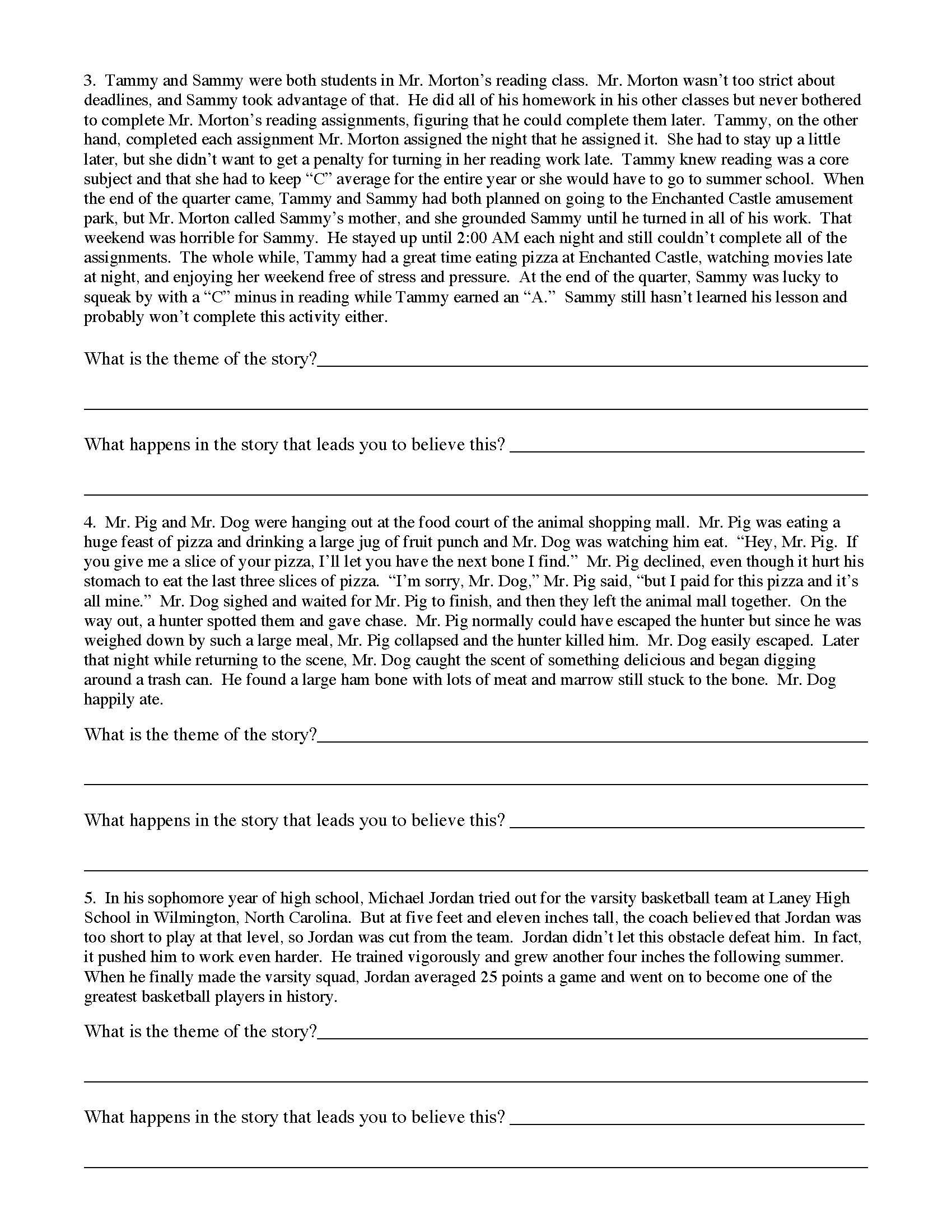 - Theme Worksheet 1 Preview