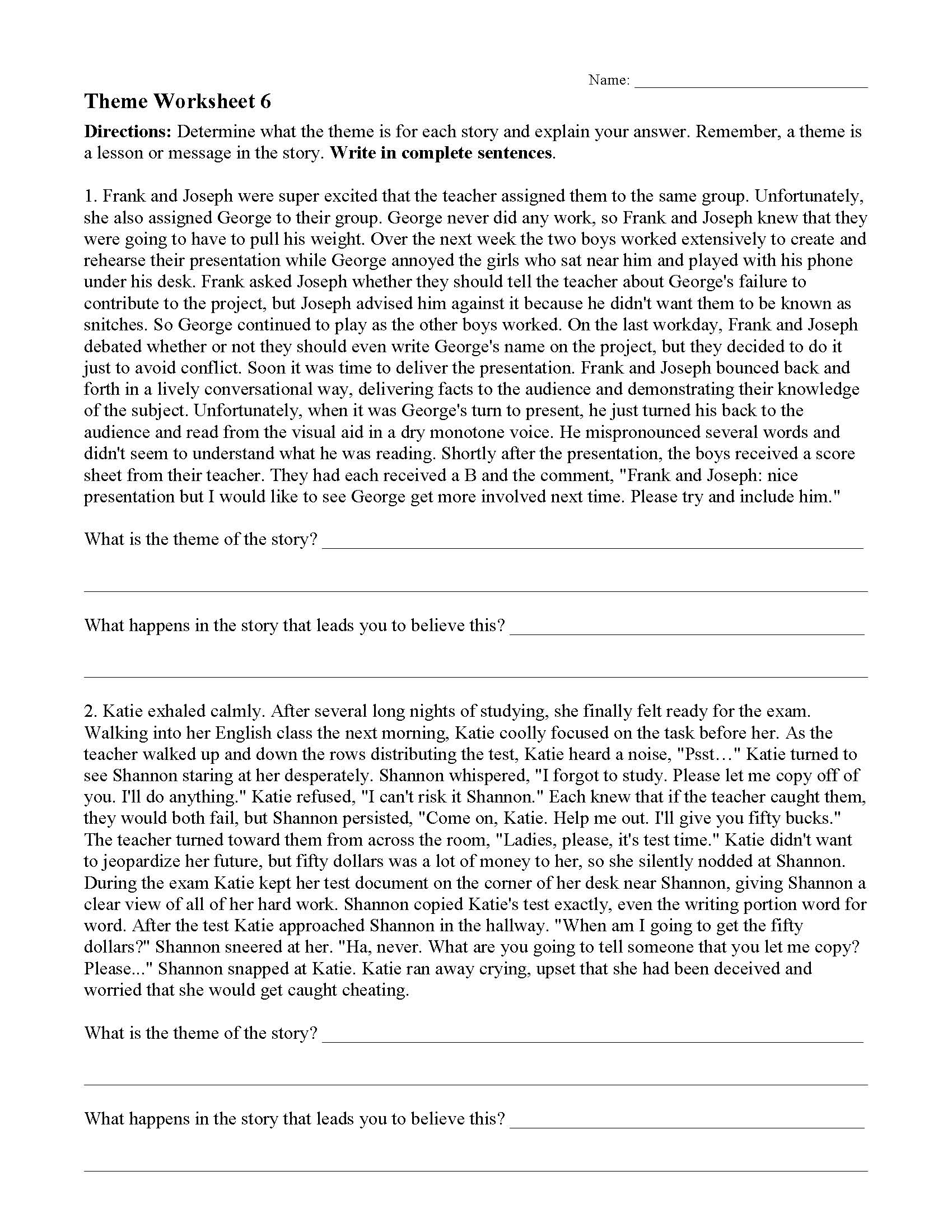 Theme Or Author S Message Worksheets Ereading Worksheets Provide a summary of the. ereading worksheets