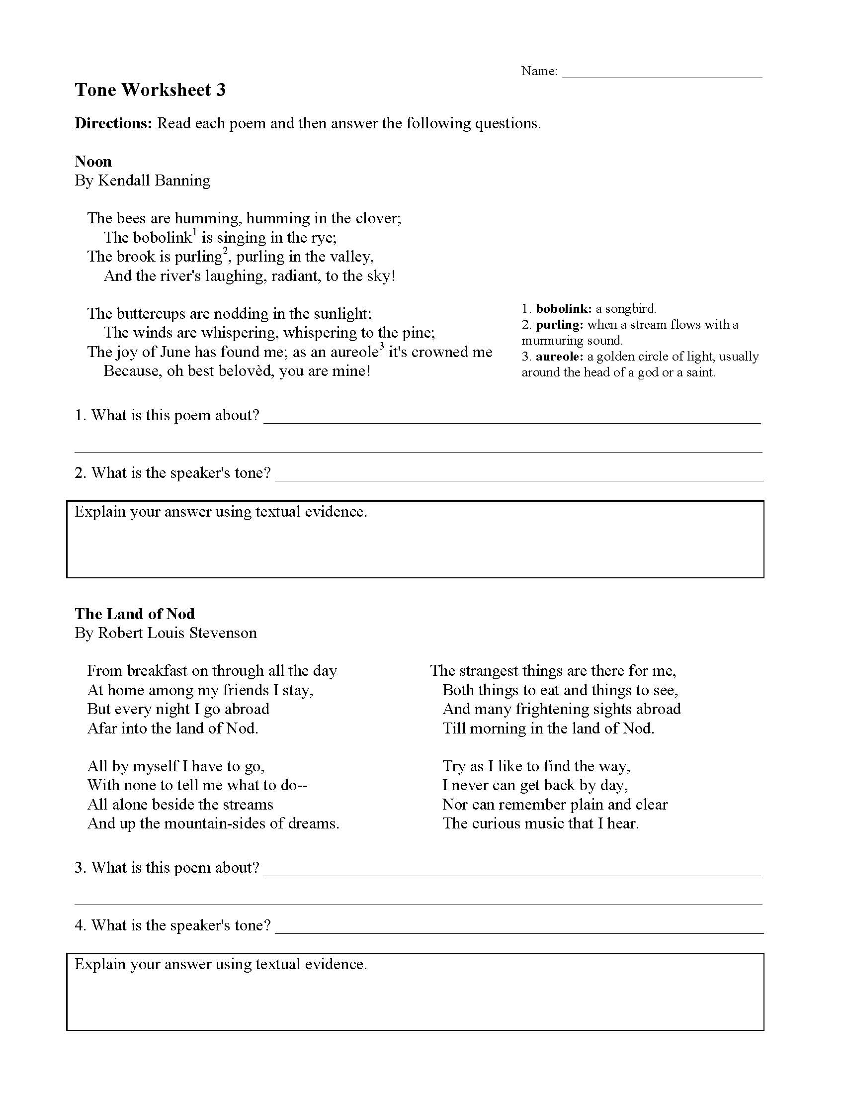 This is a preview image of Tone Worksheet 3. Click on it to enlarge it or view the source file.