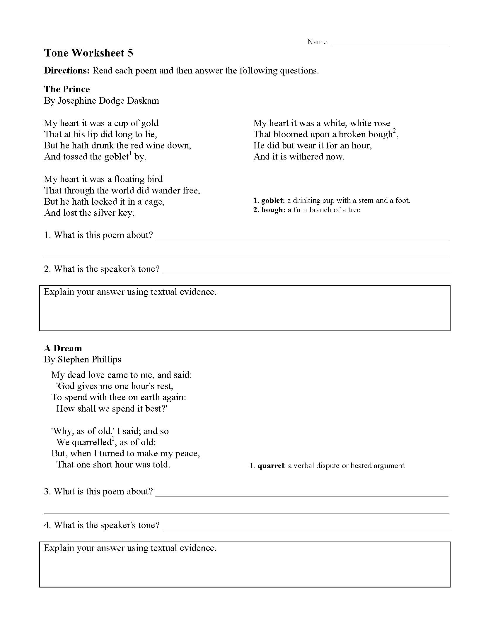 This is a preview image of the Tone Worksheet 5.