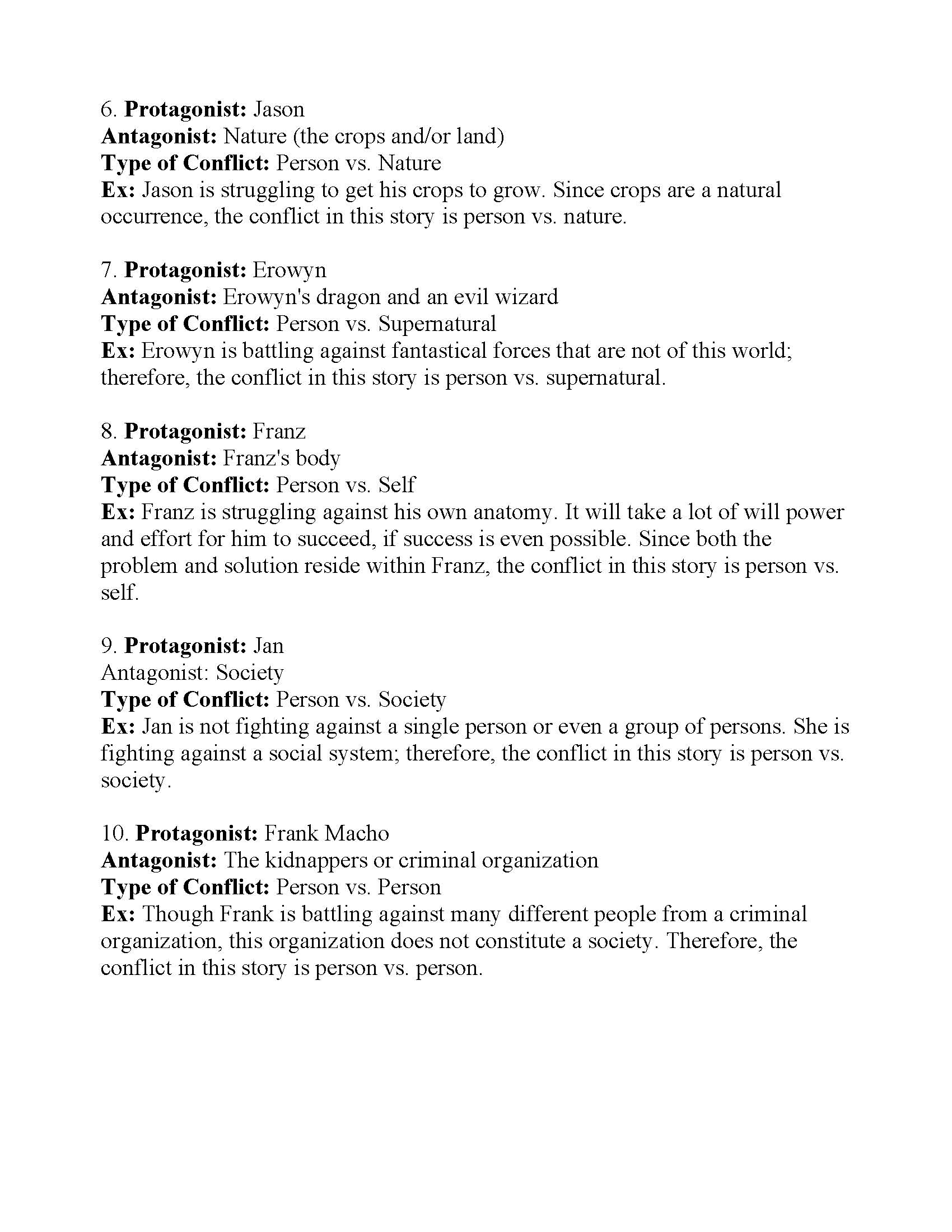 Types Of Conflict Worksheet 4 Answers