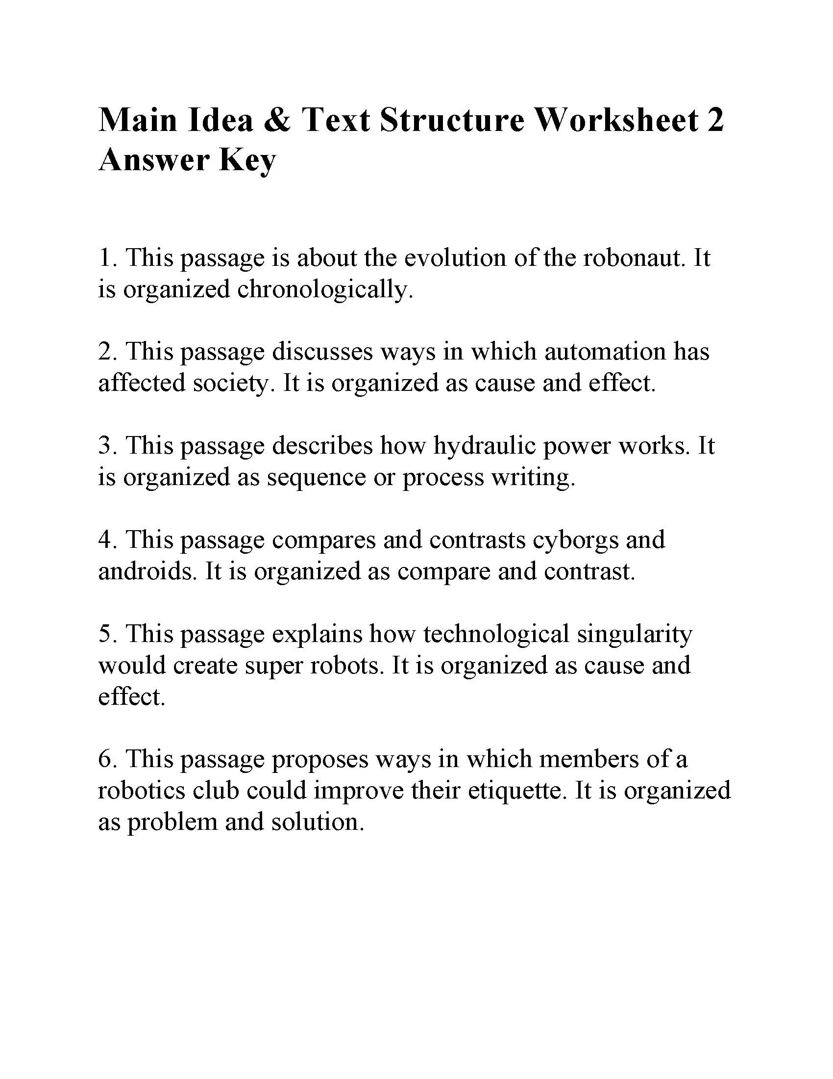 This is the answer key for the Main Idea and Text Structure Worksheet 2.