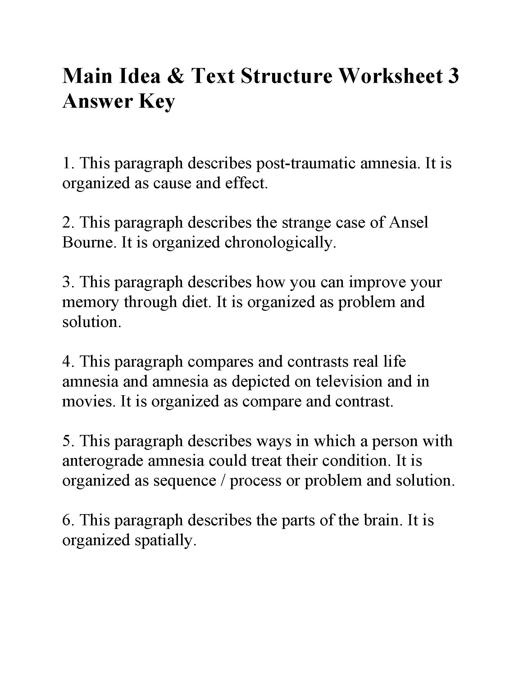This is the answer key for the Main Idea and Text Structure Worksheet 3.