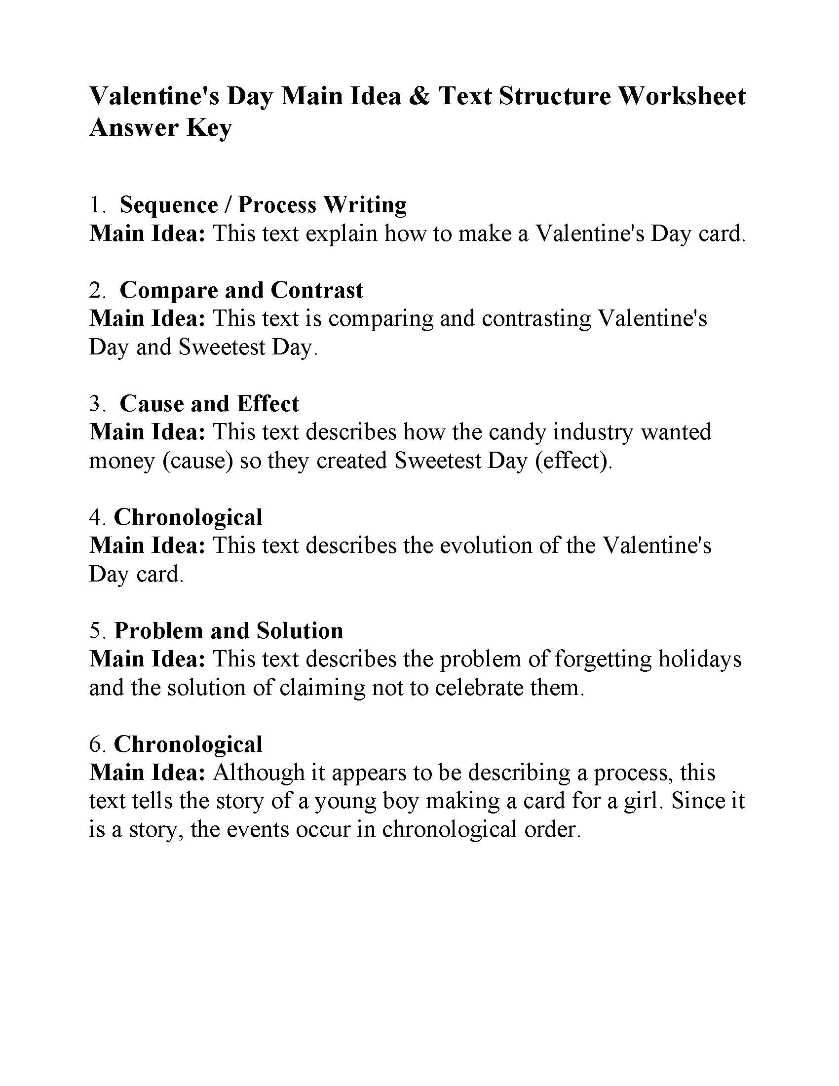 This is a preview image of Main Idea & Text Structure Valentine's Day Worksheet. Click on it to enlarge it or view the source file.