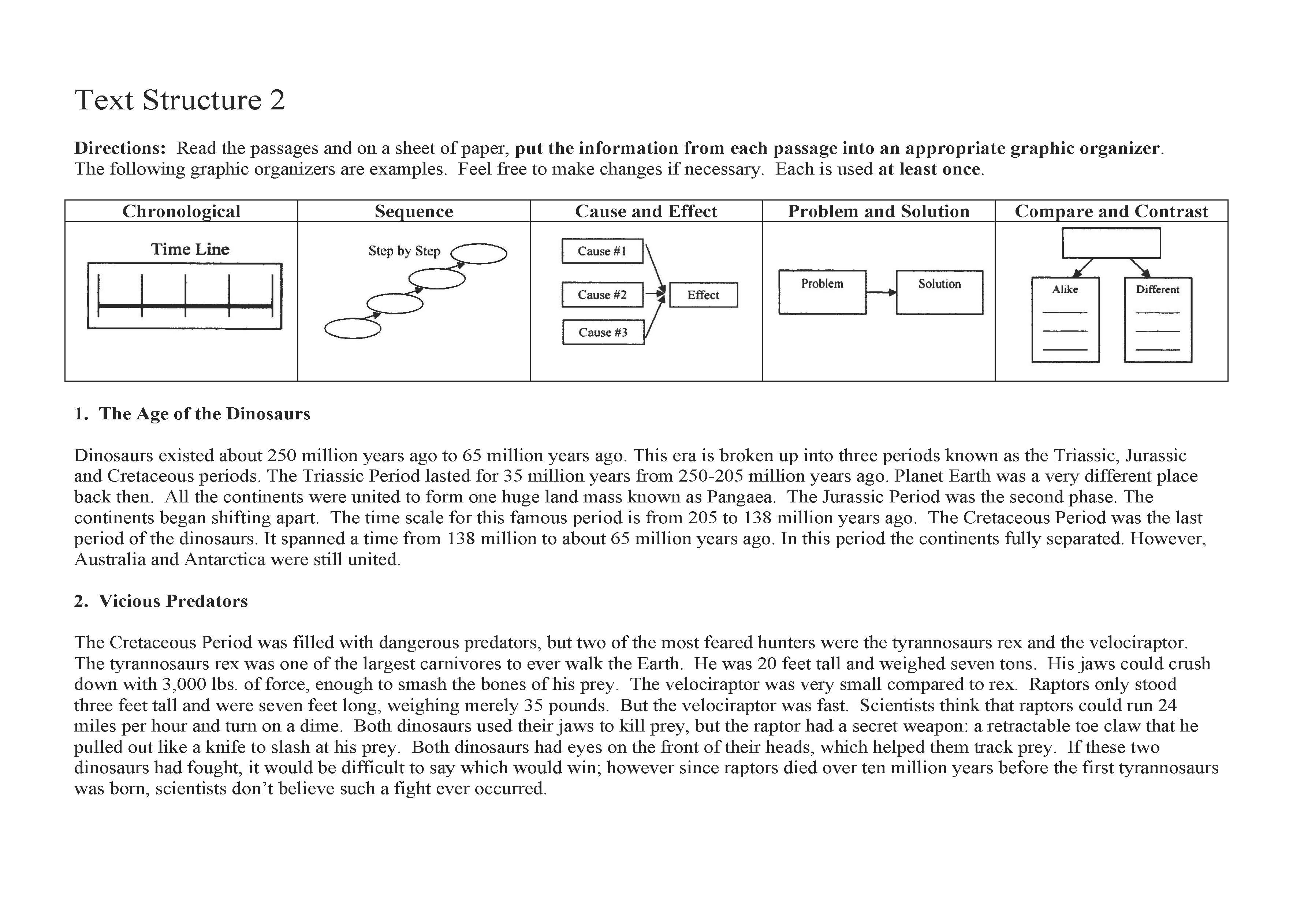 This is a preview image of the Text Structure Worksheet 2.